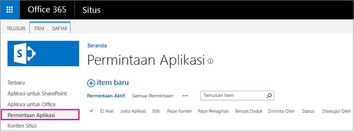 Cuplikan layar memperlihatkan link Permintaan Aplikasi