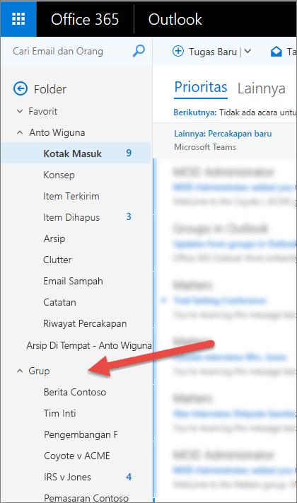 Anda akan menemukan grup di panel navigasi kiri di Outlook atau Outlook di web