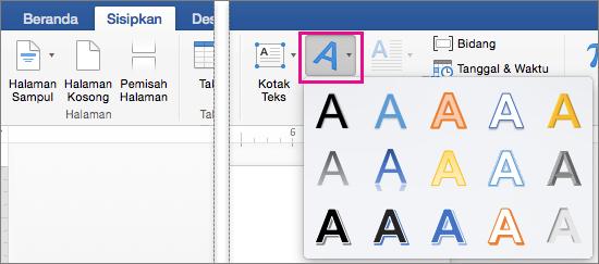 Tab Sisipkan dengan opsi WordArt disorot.