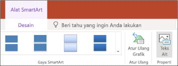 Tombol teks Alt pada pita untuk SmartArt di PowerPoint online.