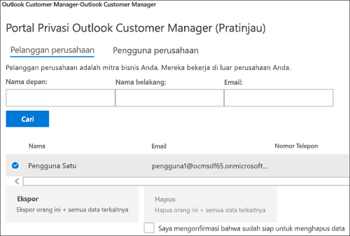 Cuplikan layar: Pelanggan manajer pelanggan Outlook Ekspor data