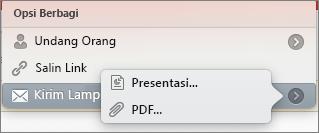 Opsi Berbagi Email PPT untuk Mac