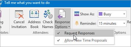 Cuplikan layar tombol Respons Permintaan di Outlook 2016 untuk Windows