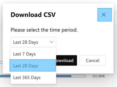Cuplikan layar memperlihatkan mengunduh data wawasan untuk komunitas Yammer