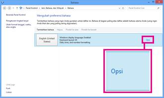 Menambahkan metode input dalam Panel Kontrol di Windows 8