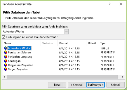 Panduan koneksi data > Pilih database dan tabel