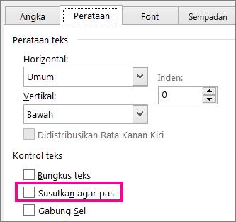 Disusutkan agar pas di tab Perataan dari kotak dialog Format Sel