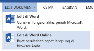 Opsi menu Edit di Word Web App