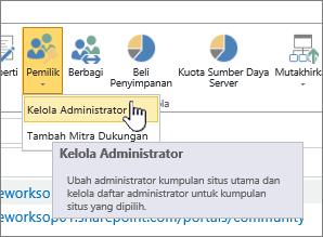 Tombol pemilik administrator SPO situs dengan Kelola administrator disorot.