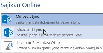 Sajikan Online dengan Microsoft Lync