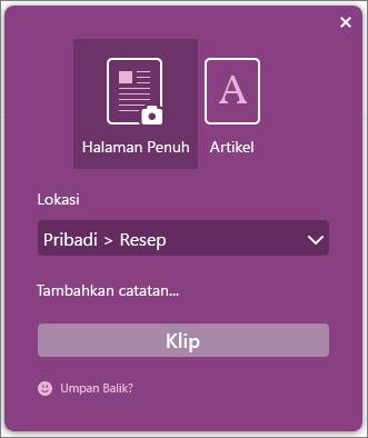 Cuplikan layar kotak dialog OneNote Clipper.