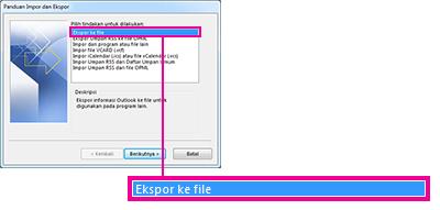 Mengekspor opsi file dalam Panduan Impor dan Ekspor