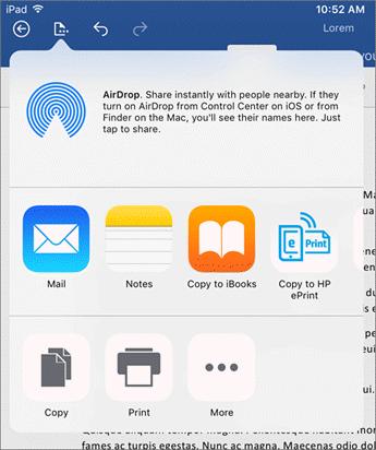 Buka di aplikasi lain dialog memungkinkan Anda mengirim dokumen Anda ke aplikasi lain ke email, mencetak atau berbagi.