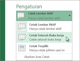 Di bawah Pengaturan, klik Cetak Seluruh Lembar Kerja