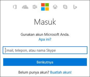 Cuplikan layar halaman masuk Akun Saya tempat Anda memasukkan akun Microsoft yang digunakan dengan Office