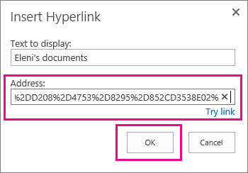 Menyisipkan URL ke folder OneDrive.