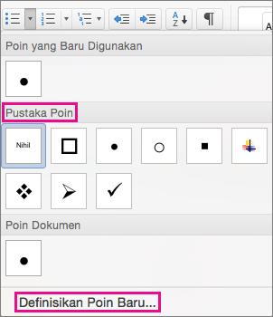Klik Tetapkan Poin Baru jika Pustaka Poin tidak memiliki simbol yang Anda inginkan.