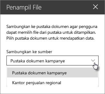 Penampil properti panel file dengan menyambungkan ke sumber daftar menurun