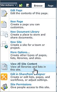 Menampilkan semua konten situs pada menu tindakan situs