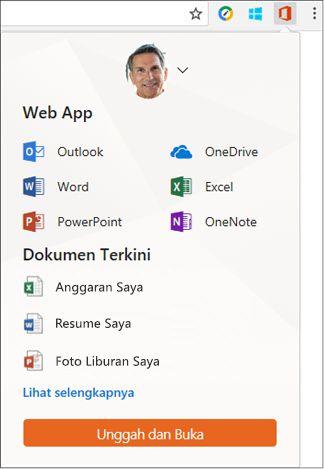 Klik ekstensi Office Online di bilah ekstensi Chrome untuk membuka panel Office Online.
