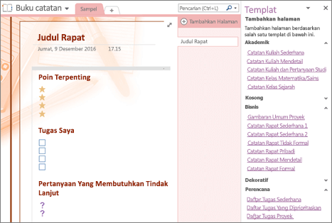 Cuplikan layar halaman buku catatan yang dibuat dari templat rapat. Panel Templat terbuka.
