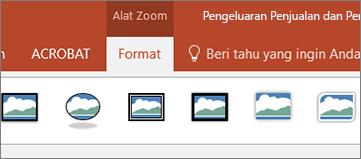 Memperlihatkan tab Format alat Zoom pada pita di PowerPoint.