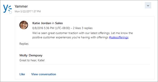 Cuplikan layar kartu dari layanan tersambung yang dikirimkan ke kotak masuk grup Anda