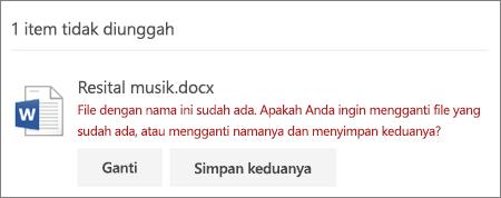 Kesalahan 'Nama file sudah ada' di UI web OneDrive