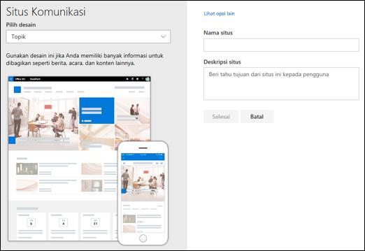 Pilih desain situs komunikasi