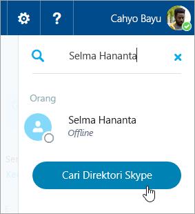 Cuplikan layar kotak pencarian di panel Skype