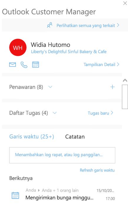Layar permulaan Outlook Customer Manager