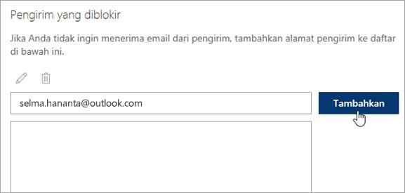 Tangkapan layar dari kotak pengirim yang diblokir