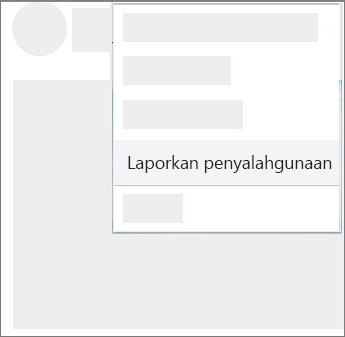 Cuplikan layar cara melaporkan pelanggaran di OneDrive
