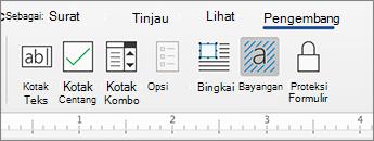 Tab pengembang dengan kontrol konten