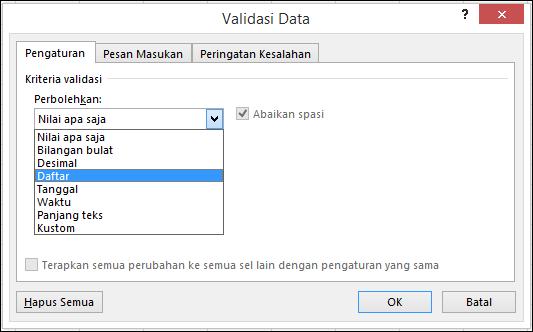 Tab pengaturan dalam kotak dialog Validasi Data