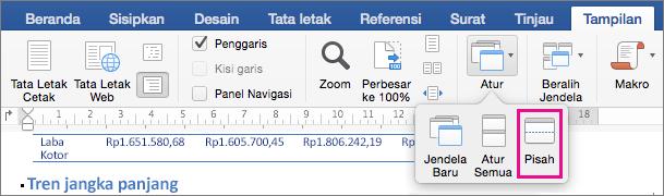 Klik Pisahkan untuk membagi jendela Word menjadi dua tampilan dokumen yang sama.