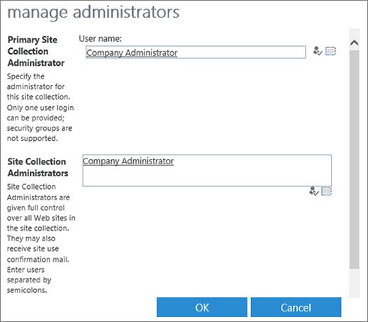 Kotak dialog administrator situs.