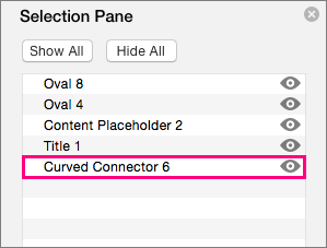 Menampilkan konektor di bagian bawah daftar pada Panel Pilihan