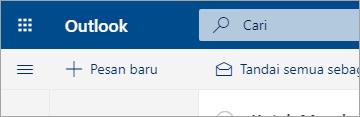 Cuplikan layar pengalaman Email yang baru