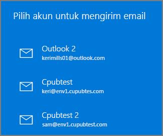 Pilih akun untuk mengirim email