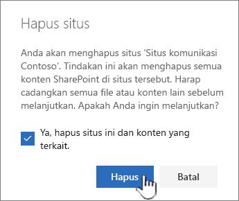 Jika Anda yakin ingin menghapus situs, klik Hapus