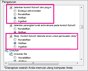 Memperbolehkan kontrol ActiveX untuk dimuat dan berjalan di Internet Explorer