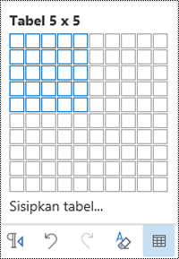 Kisi tabel dalam Outlook di web.