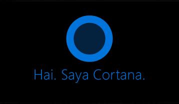 """Logo Cortana dan kata """"Hai. Saya Cortana. """""""