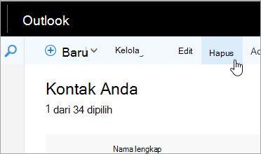 Cuplikan layar tombol Hapus di bawah bilah navigasi Outlook.