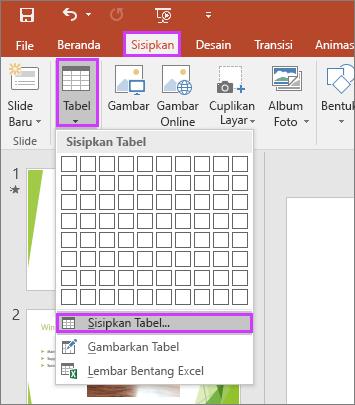 Memperlihatkan opsi Tabel di tab Sisipkan pada pita di PowerPoint