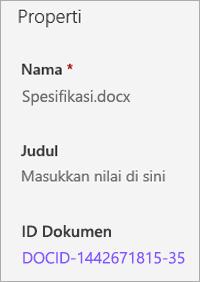 ID dokumen diperlihatkan di panel detail
