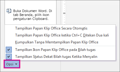 Opsi Clipboard di Word 2013