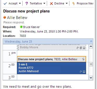 Tampilan Cepat Kalender dalam pesan permintaan rapat