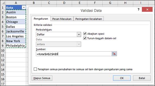 Pemilihan sumber Validasi Data